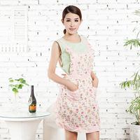 Flower Pattern Kitchen Bib Apron Home Dress Cooking Apron Pocket Lace Restaurant