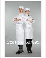 Free shipping  fashion Korean style  unisex long sleeve white cotton hotel chef cooking jacket coat