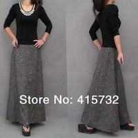 Free Shipping 2014 New Fashion Autumn And Winter Ultra Long Expansion Bottom A-line Women Skirts Plus Size Grey And Khaki 2XL