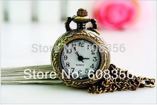 dial 25mm brass antique quartz pocket watch Necklace machinery for men and women 10pcs/lot wholesale(China (Mainland))