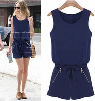 European style 2014 New fashion summer Sleeveless casual chiffon jumpsuit women elegant OL overalls short jumpsuits 1J011