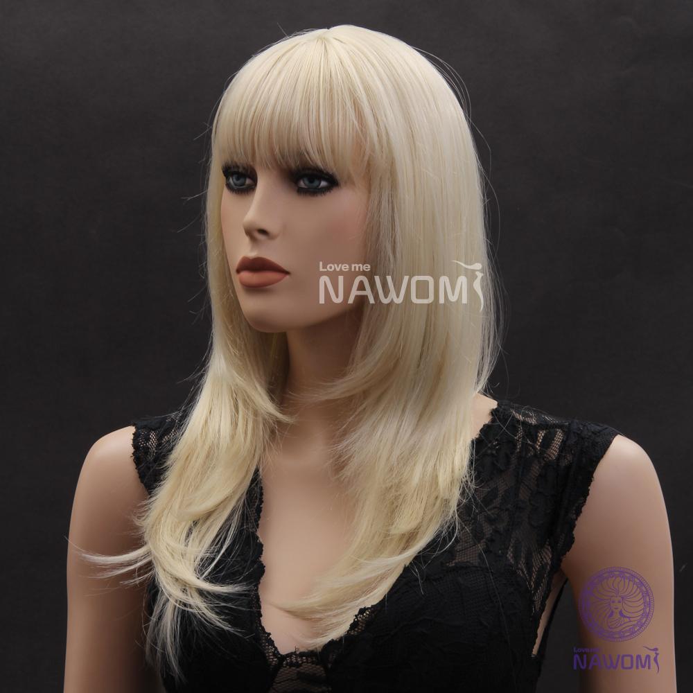 Long Platinum Blonde Wig With Bangs Sexy Platinum Blonde Wigs