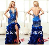 Sexy Organza Ruffles Halter Slit Evening Sparkle Crystals Vestidos De Fiesta New Arrival 2014 Prom Dresses Royal Blue