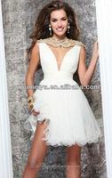 OUMEIYA OEC331 Sheer Tulle Back Pearls Beaded Bling Bling Cocktail Dress 2014
