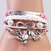 Customize Love birds Infinity Motto Charm bracelet Friendship bridesmaid gift Christmas Gift
