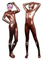Details about  Metallic Coffee Lycra Spandex Sexy Halloween Party Zentai Costume Gift S-XXL