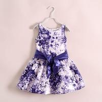 New 2014 Summer Beautiful Floral Girls Dress Princess Purple Girl Formal Dress with Ribbon Brand Children Clothing Child Wear