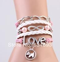 2014 Newest silver infinity love dog charm bracelet,pearl handmade friendship bracelet