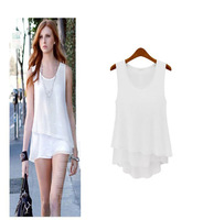 Women Solid Sleeveless Lady Chiffon Tops Vest Blouse Skirt-like T-shirt White