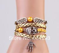 Christmas Gift, skull, palm, pearl bracelet, angel wings, handmade bracelet wholesale