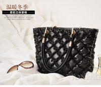 free shipping hot sale  PU leather woman messenger bag plaid large female handbag shopping ladies sac a main