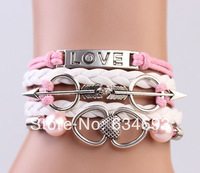 2014 Newest Silver Double Hearts Love And Pearl Wrap Multilayer Handmade Bracelet Best Chosen Gift
