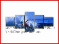Sea Wall Art Framed 5 Panel Huge Seascape Oil Painting Blue Canvas Picture for Living Room XD02055