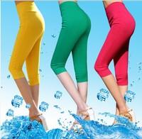 New 2014 Cheap Capri Leggings Pants for Women Mid Calf Sport Leggings High Waisted Short Cropped Leggings Many Sizes Cotton Made
