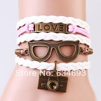 Love Glasses Camera Charm Bracelet--Antique Gold Wax Cords and Imitation Leather Bracelet-Personalized Bacelet,Friendship gift