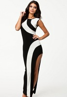 Women Flirty Monochrome Maxi Evening Dress 6237, free shipping to worldwide