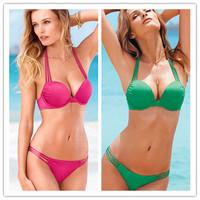 Wholesale & Retail 2014 Fashion High Quality Sexy Bikini Swimwear 5 colors  Free Shipping