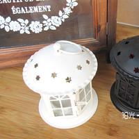 Zakka Fashion White Iron Candle Hoder Included Candle Europe Garden Windproof  Candlestick Retro Lantern