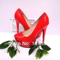 New arrived 2014 Women Hot sexy Lips red And pearl black 16CM ultra High heel Pumps/platform party shoes EUR large size 40-45