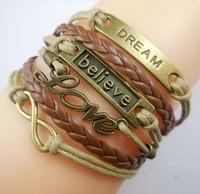 Min. is 10$ Infinity, love ,believe dream Charm Bracelet in Antique Bronze , Wax Cords Leather Braid Bracelet
