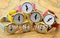5pcs/lot 2014summer  popular mustache bonjour  ribbon Latin Cross designs FashionUnisex ladies quartz watch vintage wristwatches