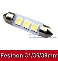 100pcs/lot Festoon Dome Light 3 SMD 5050 LED 31mm 36mm 39mm  Car interior Reading License plate light