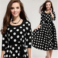 Black White Dot High Quality Dress 2014 Summer New European and American  Half Sleeve Women Dress Korean Sun Hemp Free Belt