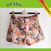 2013 New Fashion Autumn-Summer Lady blue Cute Vintage flower printed feminino high waist skinny shorts women short Pants