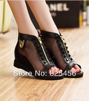 hot-sell free shipping women's shoes 2014 summer open toe shoes network female genuine leather cool boots leather sandals