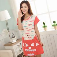 Hot-selling spring 100% Women cartoon cotton sleepwear set