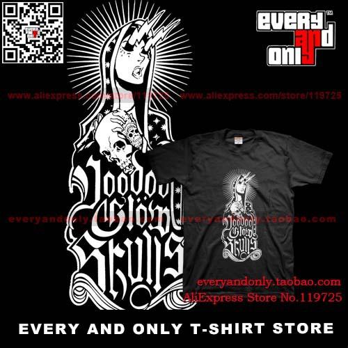 Free Shipping Voodoo Glow Skulls Band Break The Spell Men 100% cotton short-sleeve Rock t-shirt Punk Tee T 2014 New(China (Mainland))
