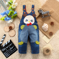 Spring NEW yellow duck Design Jeans Overall For Boys Girls Children open files pants Coveralls Baby Rompers Baby Clothes