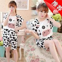 Hot-selling 2014 milk, silk short-sleeve princess cartoon milk cow three piece set female lounge