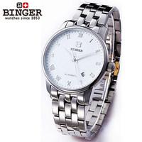 luxury big brand business man watches white steel dial calendar date wristwatch auto automatic self wind mechanical watch male