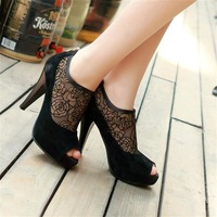 Free shipping hot-sell 2014 casual open toe low high-heeled shoes cool boots genuine leather sandals scrub