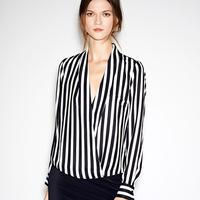 2014 spring korean new fashion long sleeve women shirts stripes chiffon casual female shirts femininas chifon blusas