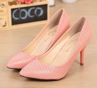 Formal shoes serpentine pattern high-heeled shoes sexy pointed toe thin heels shoes pink serpentine pattern shoes