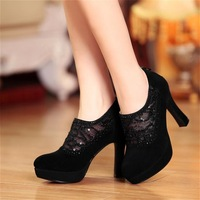 hot-sell 2014 spring genuine leather deep mouth single shoes female high-heeled shoes sheep cool boots
