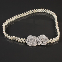 White flower pearl decoration cummerbund female all-match belly chain fashion elastic thin belt h153
