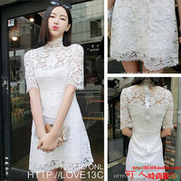 Spring 2014 elegant turtleneck lace one-piece dress m1-2a