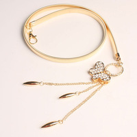 Gold elastic belly chain fashion rhinestone belt silver bow all-match h072 decoration