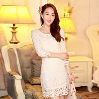 2014 Princess Lady Mini White Lace Dress Size S-2XL Spring  Party Elegant White Design Women Floral Evening Gown