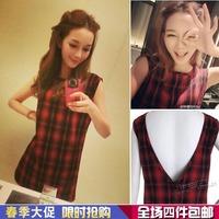 Plaid vest one-piece dress 13i