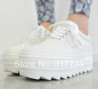 Low platform canvas shoes ,spring single  casual round toe platform shoes, elevator  women's solid color