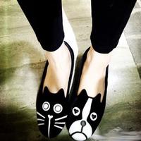 Saidsgroupsdirector  flat fashion velvet women's shoes, flat heel single dog  cat  duomaomao shoes