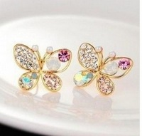 B196 multicolor pearl earring crystal butterfly imitation diamond woman jewelry wholesale free shipping