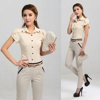 New Short Sleeve Spring Summer Women's Business Work Wear Pants Suits ( Shirt + Pants ) Uniform Shirt Suit Elegant Plus Size XXL