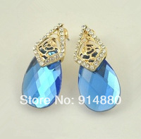 Free Shipping (5 Pairs/ Lot) Fashionable Flower-Shaped Rhinestone Crystal Drop Earrings