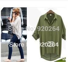 Frete grátis Tops para as mulheres novas roupas mulher 2014 marca blusa colorida de mangas compridas soltas blusas de chiffon de moda plus size(China (Mainland))