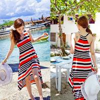 Viscose multicolour stripe full dress beach dress expansion bottom irregular one-piece dress full dress